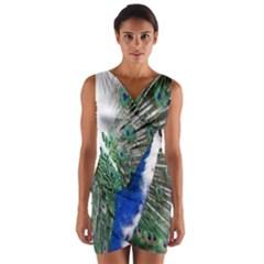 Animal Photography Peacock Bird Wrap Front Bodycon Dress