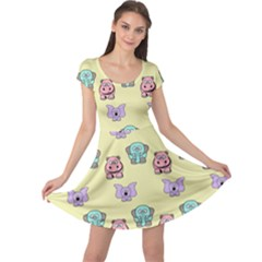 Animals Pastel Children Colorful Cap Sleeve Dresses