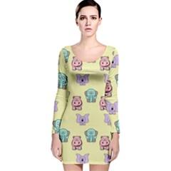 Animals Pastel Children Colorful Long Sleeve Velvet Bodycon Dress