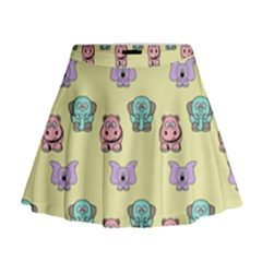 Animals Pastel Children Colorful Mini Flare Skirt