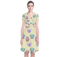Animals Pastel Children Colorful Short Sleeve Front Wrap Dress