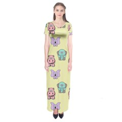 Animals Pastel Children Colorful Short Sleeve Maxi Dress