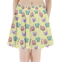 Animals Pastel Children Colorful Pleated Mini Skirt