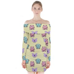 Animals Pastel Children Colorful Long Sleeve Off Shoulder Dress