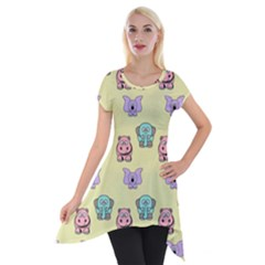 Animals Pastel Children Colorful Short Sleeve Side Drop Tunic