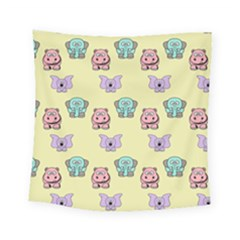 Animals Pastel Children Colorful Square Tapestry (small)