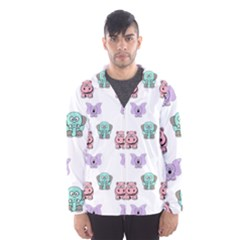 Animals Pastel Children Colorful Hooded Wind Breaker (men)