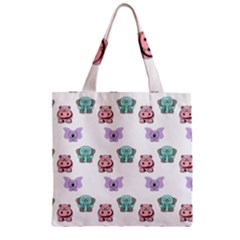 Animals Pastel Children Colorful Zipper Grocery Tote Bag