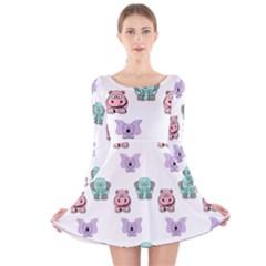 Animals Pastel Children Colorful Long Sleeve Velvet Skater Dress