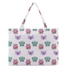 Animals Pastel Children Colorful Medium Zipper Tote Bag