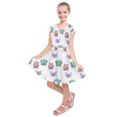 Animals Pastel Children Colorful Kids  Short Sleeve Dress