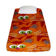 Animals Pet Cats Mammal Cartoon Fitted Sheet (single Size)
