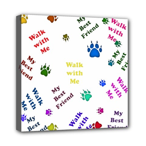 Animals Pets Dogs Paws Colorful Mini Canvas 8  X 8