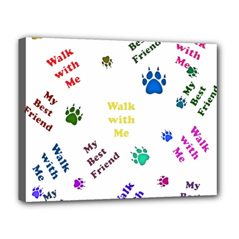 Animals Pets Dogs Paws Colorful Canvas 14  X 11