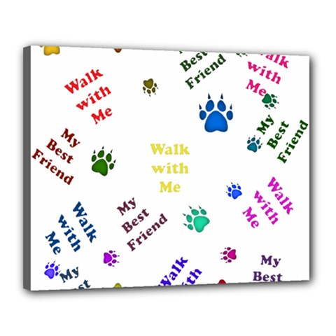 Animals Pets Dogs Paws Colorful Canvas 20  X 16