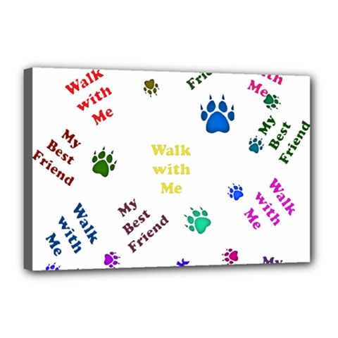 Animals Pets Dogs Paws Colorful Canvas 18  X 12