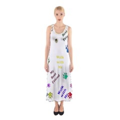 Animals Pets Dogs Paws Colorful Sleeveless Maxi Dress