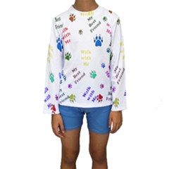Animals Pets Dogs Paws Colorful Kids  Long Sleeve Swimwear