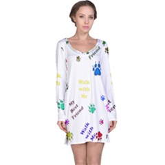 Animals Pets Dogs Paws Colorful Long Sleeve Nightdress