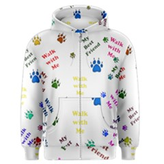 Animals Pets Dogs Paws Colorful Men s Zipper Hoodie