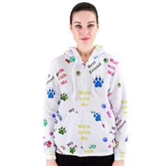 Animals Pets Dogs Paws Colorful Women s Zipper Hoodie