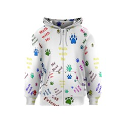 Animals Pets Dogs Paws Colorful Kids  Zipper Hoodie
