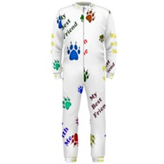 Animals Pets Dogs Paws Colorful Onepiece Jumpsuit (men)