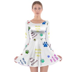 Animals Pets Dogs Paws Colorful Long Sleeve Skater Dress