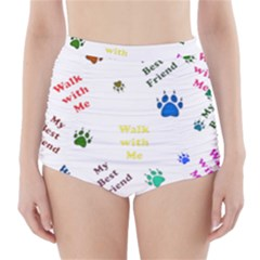 Animals Pets Dogs Paws Colorful High Waisted Bikini Bottoms