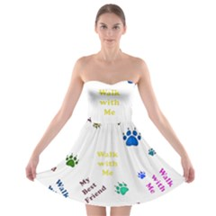 Animals Pets Dogs Paws Colorful Strapless Bra Top Dress