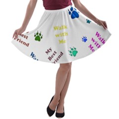 Animals Pets Dogs Paws Colorful A Line Skater Skirt