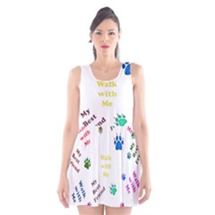 Animals Pets Dogs Paws Colorful Scoop Neck Skater Dress