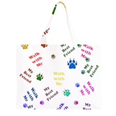 Animals Pets Dogs Paws Colorful Large Tote Bag
