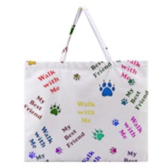 Animals Pets Dogs Paws Colorful Zipper Large Tote Bag