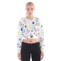 Animals Pets Dogs Paws Colorful Women s Cropped Sweatshirt