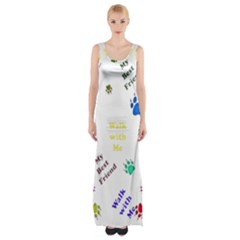 Animals Pets Dogs Paws Colorful Maxi Thigh Split Dress