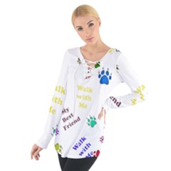 Animals Pets Dogs Paws Colorful Women s Tie Up Tee