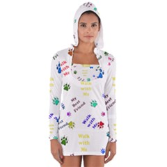 Animals Pets Dogs Paws Colorful Women s Long Sleeve Hooded T Shirt