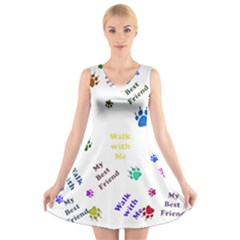 Animals Pets Dogs Paws Colorful V Neck Sleeveless Skater Dress