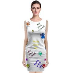 Animals Pets Dogs Paws Colorful Classic Sleeveless Midi Dress