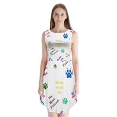 Animals Pets Dogs Paws Colorful Sleeveless Chiffon Dress