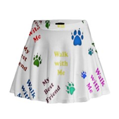 Animals Pets Dogs Paws Colorful Mini Flare Skirt