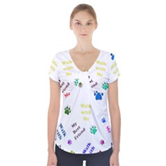 Animals Pets Dogs Paws Colorful Short Sleeve Front Detail Top