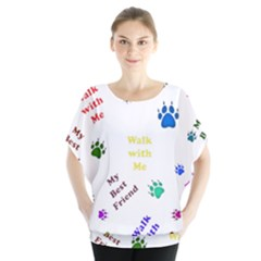 Animals Pets Dogs Paws Colorful Blouse