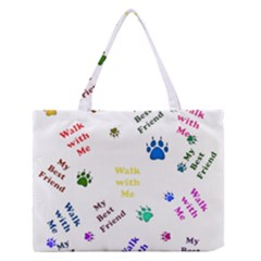 Animals Pets Dogs Paws Colorful Medium Zipper Tote Bag