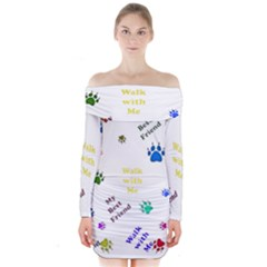 Animals Pets Dogs Paws Colorful Long Sleeve Off Shoulder Dress