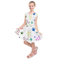 Animals Pets Dogs Paws Colorful Kids  Short Sleeve Dress