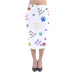 Animals Pets Dogs Paws Colorful Velvet Midi Pencil Skirt