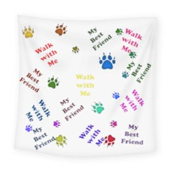 Animals Pets Dogs Paws Colorful Square Tapestry (large)