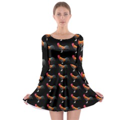 Background Pattern Chicken Fowl Long Sleeve Skater Dress